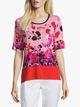 Betty Barclay Colour Block Floral Print Top, Red/Rosè