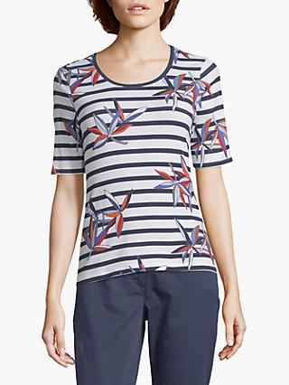 Betty Barclay Nautical Stripe With Floral Print Top, Dark Blue/White
