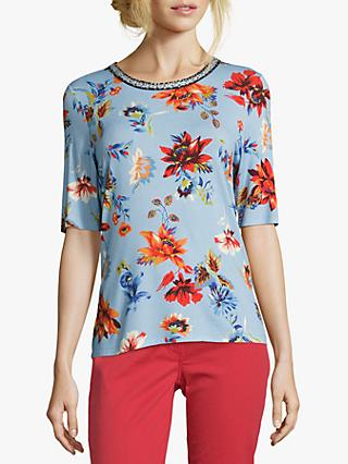 Betty Barclay Embellished Neck T-Shirt, Blue/Red