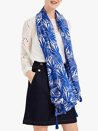 Phase Eight Sophie Palm Print Scarf, Cobalt