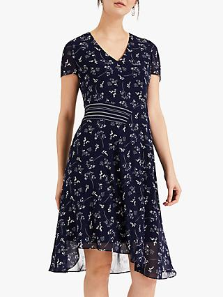 Phase Eight Emmerline Asymmetric Floral Print Dress, Navy