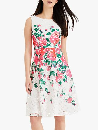 Phase Eight Janette Lace Floral Print Dress, Ivory White
