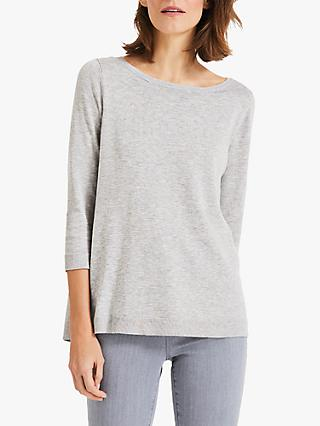 Phase Eight Terza Fleck Knitted Jumper, Grey Marl