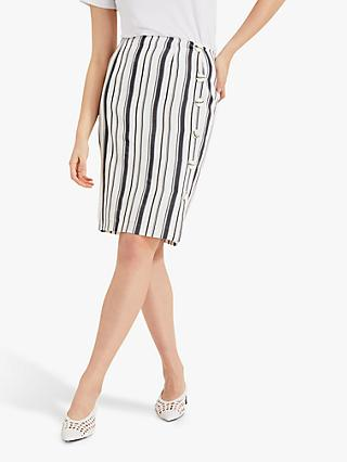 Phase Eight Dinah Stripe A-Line Skirt, Ivory/Blue