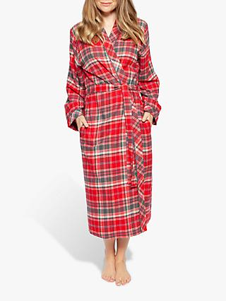 Cyberjammies Belle Check Long Dressing Gown, Red
