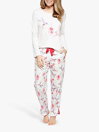 Cyberjammies Evie Hummingbird Pyjama Set, White/Red