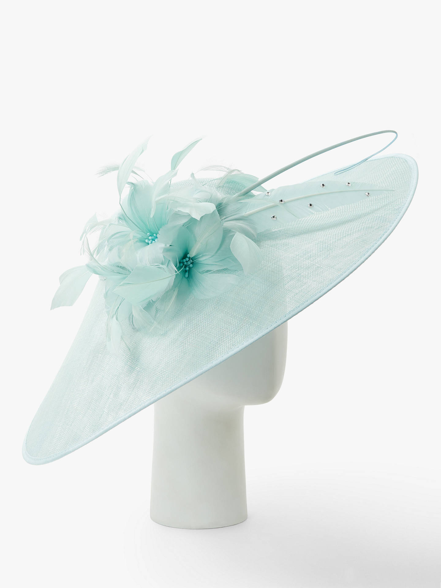 Buy John Lewis & Partners Elle Floral Down Brim Disc Occasion Hat, Blue Sorbet Online at johnlewis.com