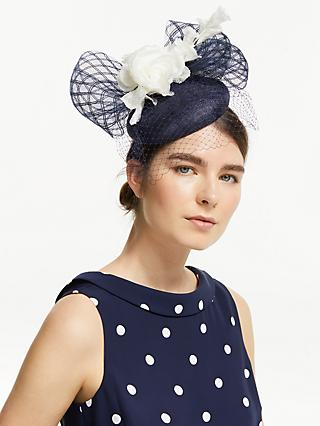 John Lewis & Partners Lucy Flower Pillbox Fascinator, Navy/White