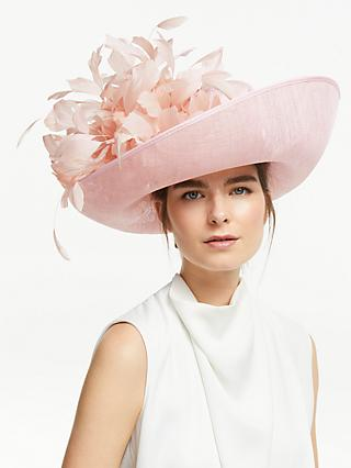 61ed05a6 John Lewis & Partners Cindy Feather Trim Occasion Hat, Chalk Pink