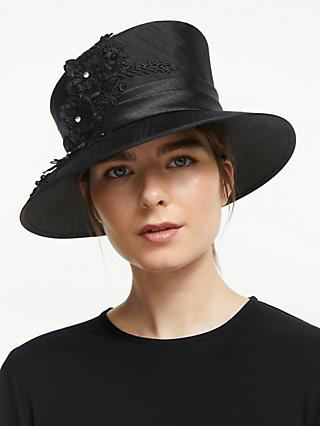a7bca71ae1507 John Lewis & Partners Chelsea Flower Applique Occasion Hat, Black