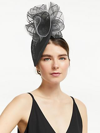 John Lewis & Partners Hope Directional Teardrop Fascinator, Black/Grey