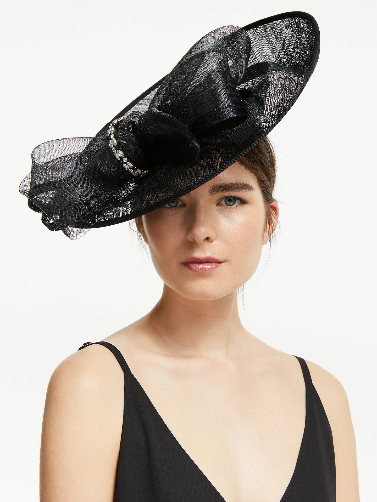 cc16189c Buy John Lewis & Partners Darcy Crystal Loop Wide Disc Occasion Hat, Black,  One ...