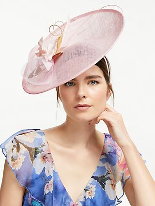 John Lewis & Partners Hillary Flower Detail Disc Occasion Hat, Chalk Pink