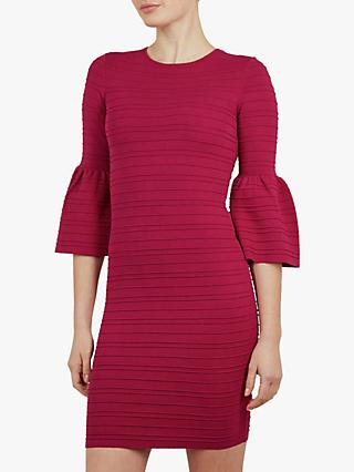 Ted Baker Yansiaa Bell Sleeve Bodycon Dress, Dark Pink