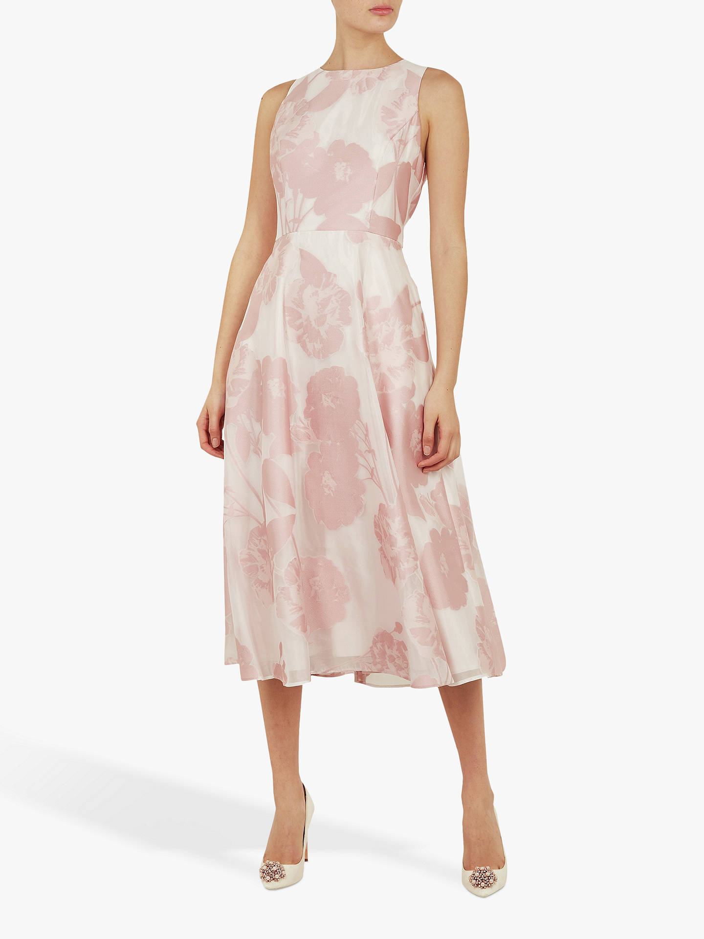 720cf59e35d4 Buy Ted Baker Wylieh Floral Jacquard Midi Dress, Light Pink, L Online at  johnlewis ...