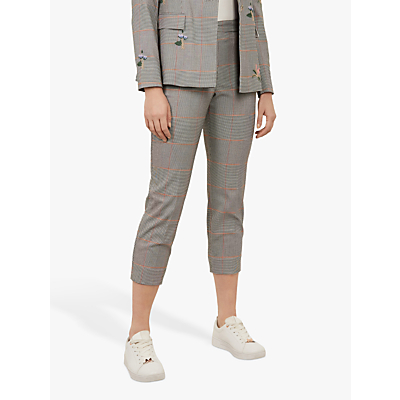 Ted Baker Darceyt Cropped Check Trousers, Light Grey