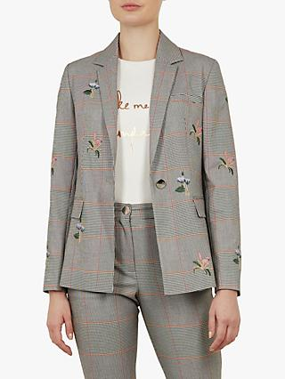 Ted Baker Darceye Floral and Check Print Tailored Jacket, Light Grey