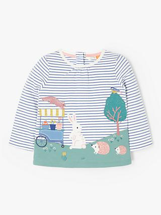 34b35bf6608f0 John Lewis & Partners Baby Bunny Scene Stripe Top, Blue/White