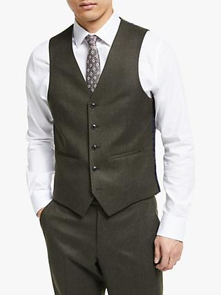 John Lewis & Partners Merino Flannel Tailored Waistcoat, Brown