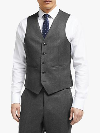 John Lewis & Partners Merino Flannel Tailored Waistcoat, Grey