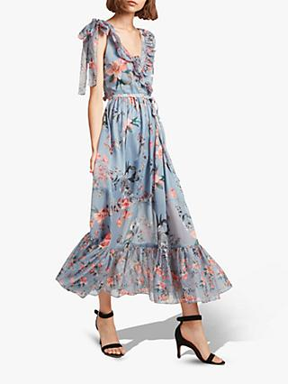 French Connection Cecile Sheer Floral Wrap Dress, Summer Turf