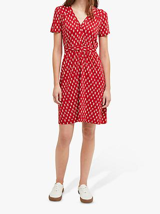 French Connection Rossne Dress, Cranberry/White