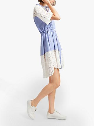 French Connection Adena Cotton Shirt Dress, Riviera Blue/Linen White