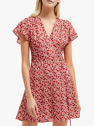 French Connection Eden Wrap Dress, Fire Coral
