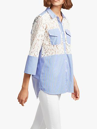 068529943707 French Connection Adena Stripe and Lace Boxy Cotton Shirt