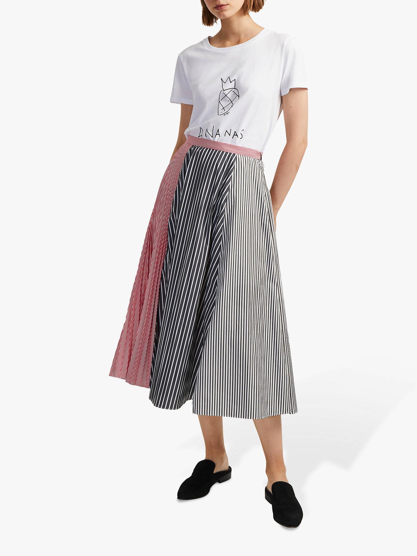 e1acef9e2 Buy French Connection Carolie Stripe Pleated Midi Skirt, Black, 14 Online  at johnlewis.