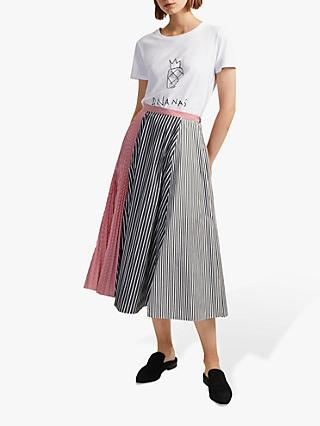 French Connection Carolie Stripe Pleated Midi Skirt, Black/Utility Blue