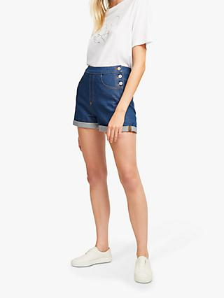 French Connection Orlina Denim Shorts, Ash Blue