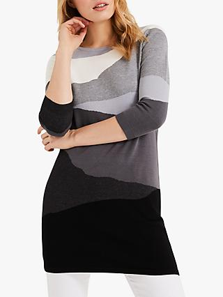 Phase Eight Lorie Tunic Dress, Black/Grey