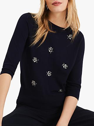Phase Eight Bayleigh Bumblebee Knit Jumper, Navy