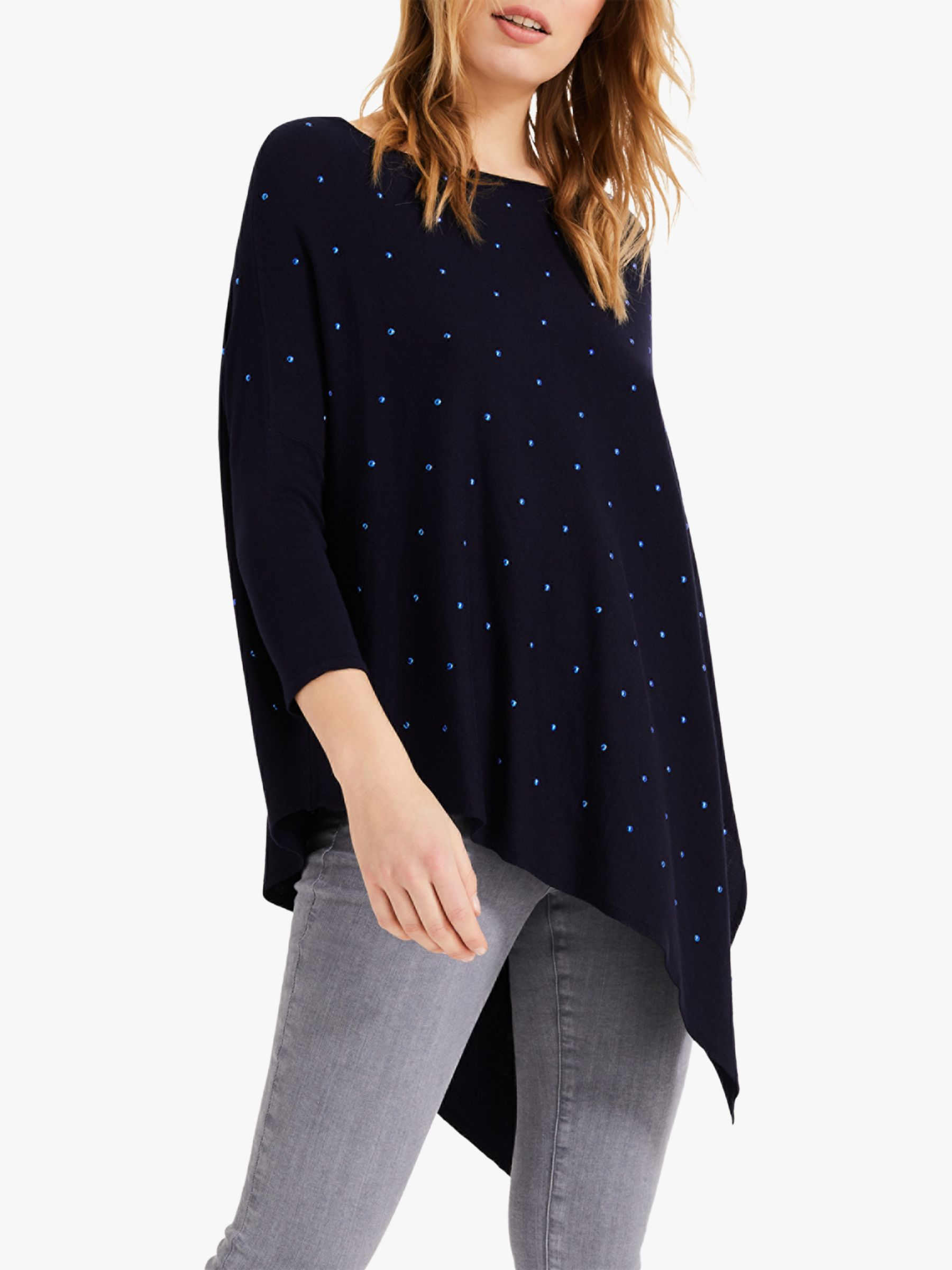 PHASE EIGHT WOMENS JUMPER TOP UK 10 WHITE NAVY SPOTTED