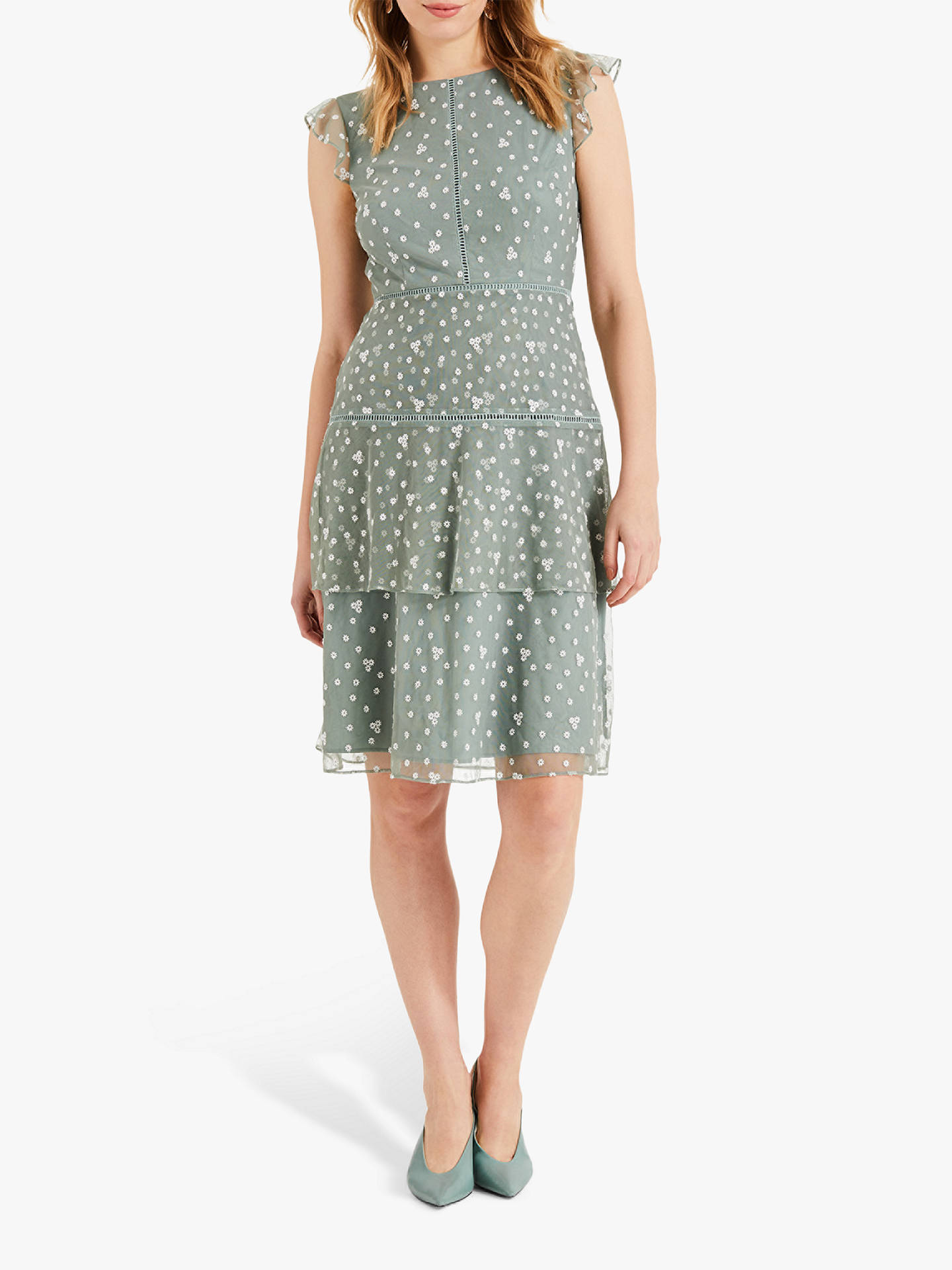 93798b775a98 Buy Phase Eight Bea Floral Embroidery Tiered Dress, Peppermint Green, 16  Online at johnlewis ...