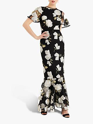 Phase Eight Christine Floral Embroidered Maxi Dress, Black/Cream