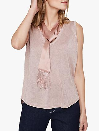Damsel in a Dress Audley Silk Tie Metallic Knit Top, Blush