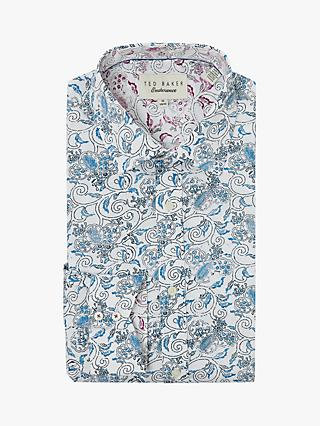 Ted Baker Crownrd Feather Print Shirt, White/Blue