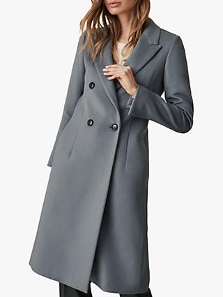 Reiss Heston Longline Double Breasted Coat, Slate