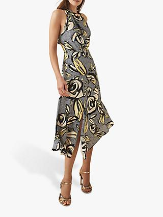 Reiss Rose Floral Printed Midi Dress, Blue