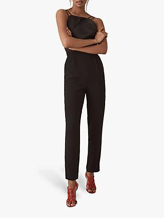 Reiss Rosalie Plunge Back Jumpsuit, Black