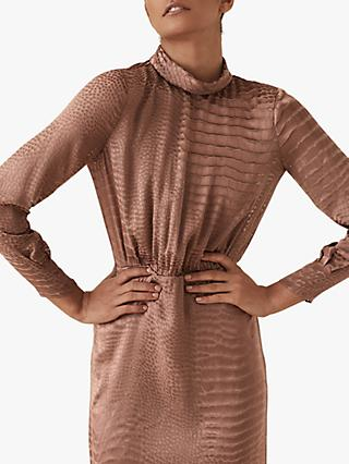 Reiss Emma Burnout Snake Pattern Dress, Bronze