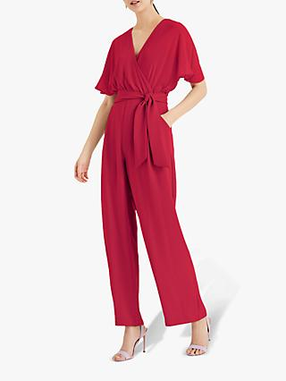 Phase Eight Munroe Batwing Tie Waist Jumpsuit, Bright Pink