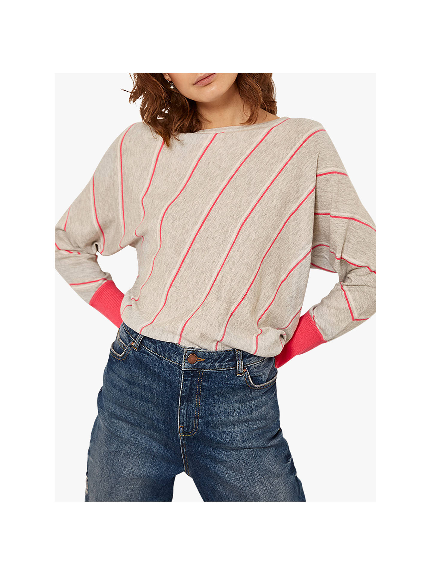 Buy Mint Velvet Diagonal Striped Jumper, Multi, S Online at johnlewis.com