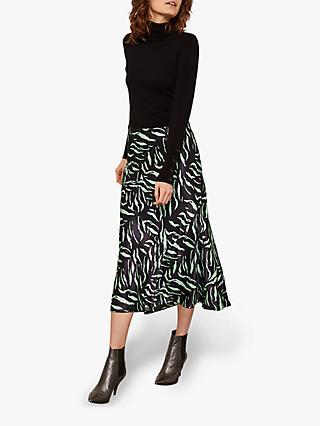 d8eb9b6451 Mint Velvet Satin Zebra Print Midi Skirt