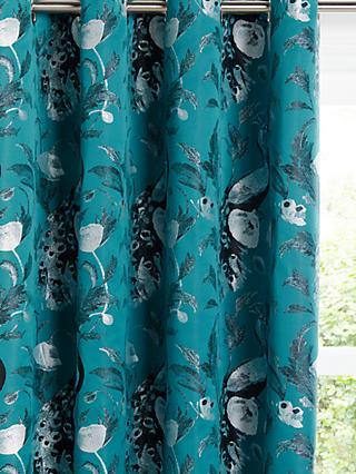 John Lewis & Partners Java Pair Lined Eyelet Curtains, Teal