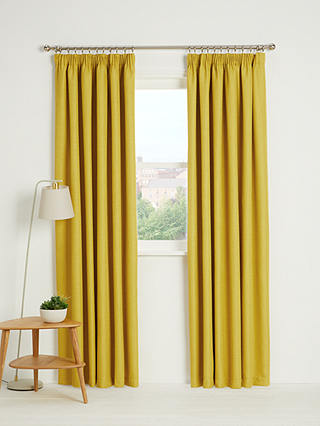 Buy John Lewis & Partners Barathea Pair Blackout Lined Pencil Pleat Curtains, Citrine, W228 x Drop 182cm Online at johnlewis.com