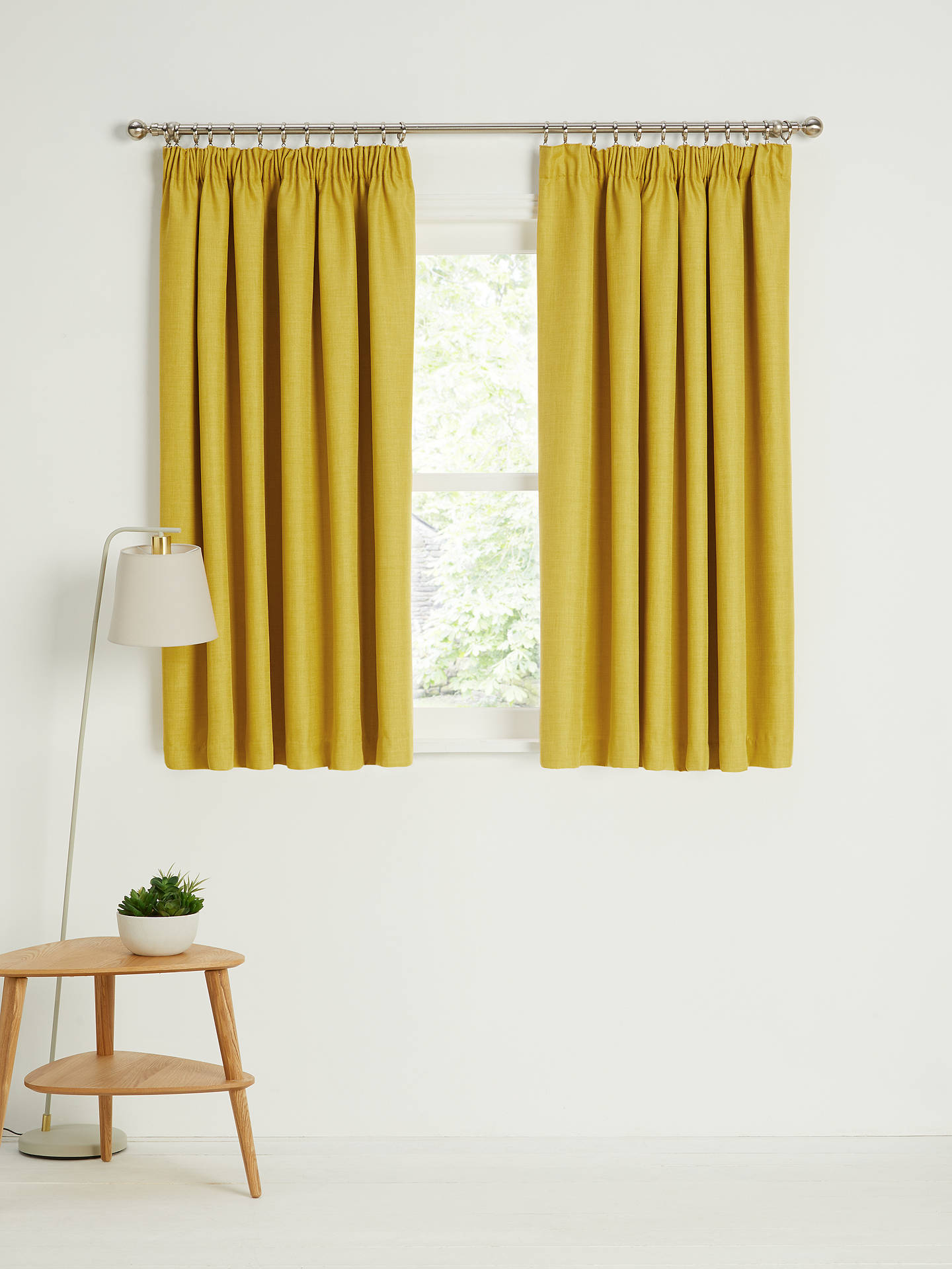 Buy John Lewis & Partners Barathea Pair Blackout Lined Pencil Pleat Curtains, Citrine, W228 x Drop 137cm Online at johnlewis.com