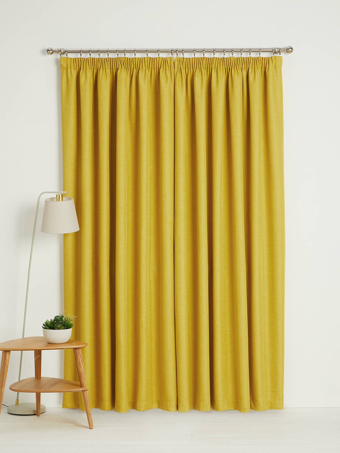 Buy John Lewis & Partners Barathea Pair Blackout Lined Pencil Pleat Curtains, Citrine, W117 x Drop 182cm Online at johnlewis.com